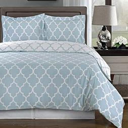 Blue and White Meridian Full / Queen 3-piece Duvet-Cover-Set
