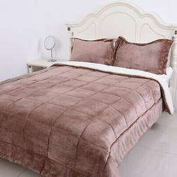 Blush Flannel Sherpa Comforter Set of 2 Shams Super Soft Bed