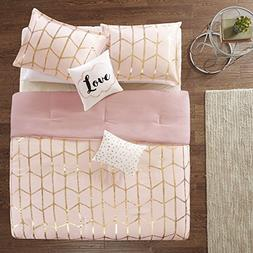 4 Piece Blush Pink Metallic Gold Geometric Shape Comforter T