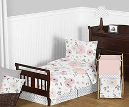 Sweet Jojo Designs 5-Piece Blush Pink, Grey and White Shabby