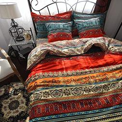 HNNSI 4 Pieces Bohemia Duvet Cover and Fitted Sheet Set King