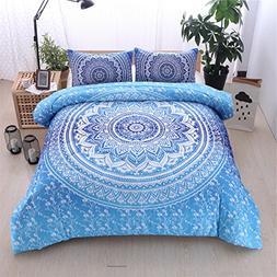 Bohemian Comforter Set, Mandala Exotic Pattern Reversible Bo
