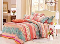 Wake In Cloud - Bohemian Comforter Set, Orange Coral Boho Ch