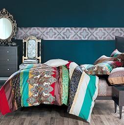 Bohemian Duvet Cover Striped Ethnic Boho Reversible Paisley