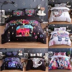 Bohemian Elephant Duvet Cover Set Boho Comforter Cover Full