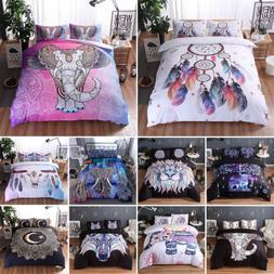 Bohemian Oriental Comforter Duvet Cover Set w/ Pillowcase Tw