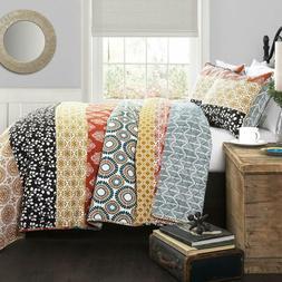 Lush Decor Bohemian Striped Quilt Reversible 3 Piece Colorfu
