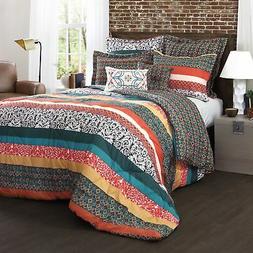 Boho Stripe Comforters Turquoise/Tangerine 7-Piece Set