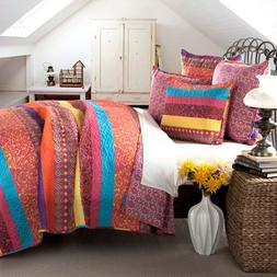 Boho Stripe 5-Piece Fuchsia Quilt Set