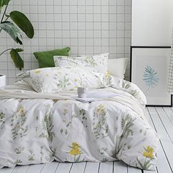 Wake In Cloud - Botanical Comforter Set, 100% Cotton Fabric