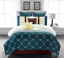 8 Piece Boyle Teal/Ivory Comforter Set Queen