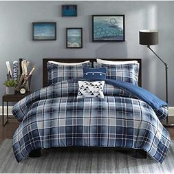 OSD 4pc Boys Classic Blue White Tartan Comforter Twin/Twin X