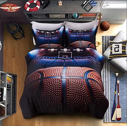 AMOR & AMORE Boys Comforter Set Basketball 3D Men Sports Bed