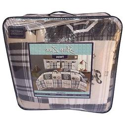 Boys Football Plaid Comforter Set with Striped Fitted Sheet,