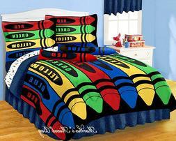 Boys/Girls Multi Color CRAYONS Comforter Sheet Set+2-Window