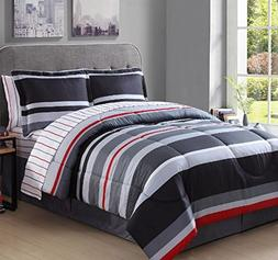 8 Piece Boys King Rugby Stripes Comforter Set, Gray White Gr