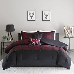 4 Piece Boys Red Black Sports Hunter Plaid Theme Comforter T