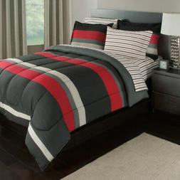 Boys Rugby Stripes Pattern Comforter Full Set Sheets Sports