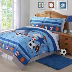 Boys Twin Full Bed Blue Soccer Basketball Football Sports St