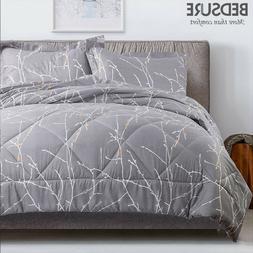 Bedsure Branch Floral Comforter Set Down Alternative Comfort
