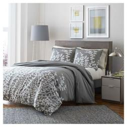 City Scene Branches Gray Cotton Comforter Set, King, Gray