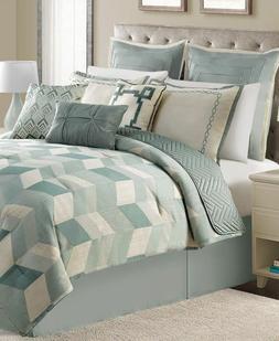 Brighton 10 Piece King Comforter Set Bedding Green/Ivory MSR