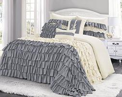 7 Piece BRISE Double Color Ruffled Comforter Set-Queen King