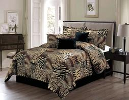 Brown Beige Black White Zebra Leopard Tiger Animal Print FUL
