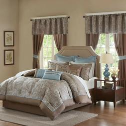 Madison Park Brown Blue Luxurious 24 Piece Bedding Comforter