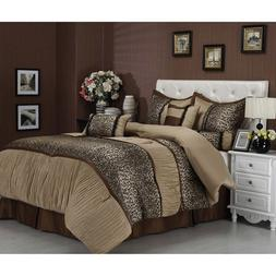 NA 7 Piece Brown Cheetah Stripes Pattern Comforter Queen Set