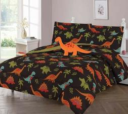 BROWN DINO LOVERS COMFORTER BED SHEET SET WINDOW PANEL VALAN