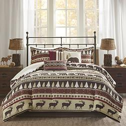 MS 7pc Brown Red Cabin Lodge Stripes Pattern Comforter Queen