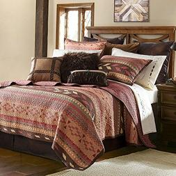 3pc Brown Tan Red Native Quilt Full Queen Set, Cotton Polyes
