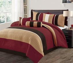 Burgundy 7 Pcs Luxury SOFT Microfiber Bedding Sets Bedroom C