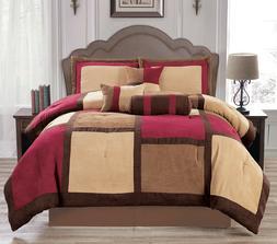 Burgundy & Brown & Beige Suede 7-piece Patchwork Comforter S