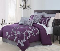 9 Piece Cal King Duchess Plum and Gray Comforter Set