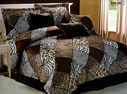 7 Piece FULL Safari Comforter set - Zebra, Giraffe, Leopard,
