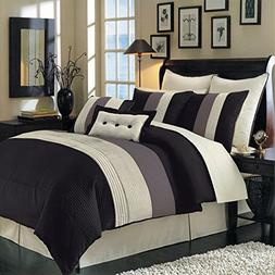 Sheetsnthings 12 PC California King Size Black Hudson Bed in