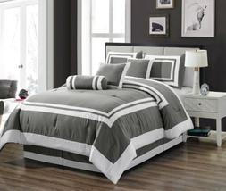 Clearance Sale Chezmoi Collection 7-Piece Gray White Hotel S