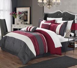 Chic Home Carlton 6-Piece Comforter Set, King Queen, Burgund