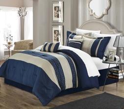 Chic Home Carlton 6-Piece Comforter Set, King Queen, Navy