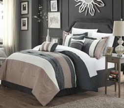 Chic Home Carlton 6-Piece Comforter Set, King Queen, Taupe