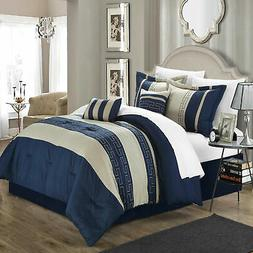 Chic Home Carlton Navy & Almond Comforter Bed In A Bag Set M