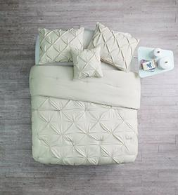 King Size Comforter Set in Taupe / Off White Posh Pintuck 4