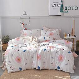 ORoa Cartoon Floral Striped Twin Duvet Cover Set Pink White
