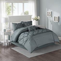 Gray Tufted Queen Comforter Set – Texture Print, Includes