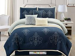 7-Pc Chandelier Scroll Damask Embroidery Pleated Comforter S