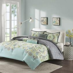 Charcoal Grey & Soft Teal Upscale Paisley Comforter Set AND