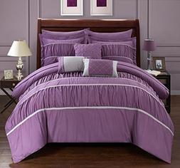 Chic Home Cheryl 10 Piece Comforter Set, King, Plum