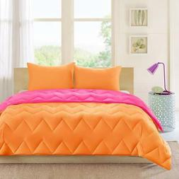 Chevron Quilted 3 Piece Comforter Set Pink/Orange King/Calif